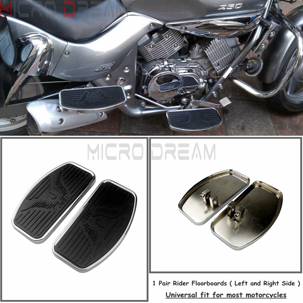 A Pair Motorcycle Driver Floorboards For Kawasaki Yamaha Honda Shadow ACE VT400 VT750C VT750C Front & Rear Foot Pegs Footboards