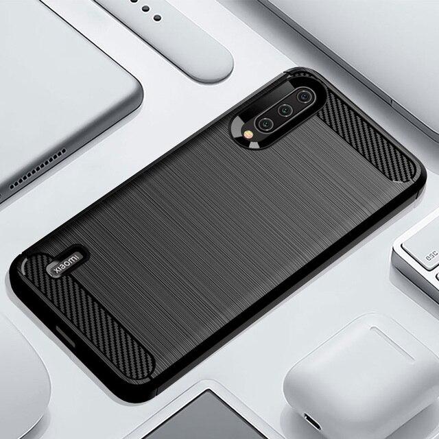 Telefon kılıfı için Xiaomi Mi A3 3 lüks karbon fiber kapak Xiaomi CC9 CC9e CC C 9e C9 C9e 9 yumuşak MiA3 MiCC9 MiCC9e Coque silikon