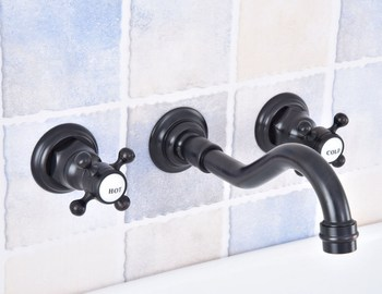Black Oil Rubbed Bronze Widespread Wall-Mounted Tub 3 Holes Dual Handles Kitchen Bathroom Tub Sink Basin Faucet Mixer Tap asf499
