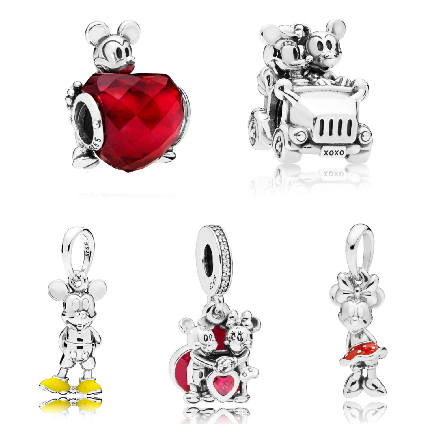 Authentic S925 Sterling Silver Disney Cartoon Cute Mickey Minnie Romantic Love Charm Bead Fit Original Europe Dangle Bracelet