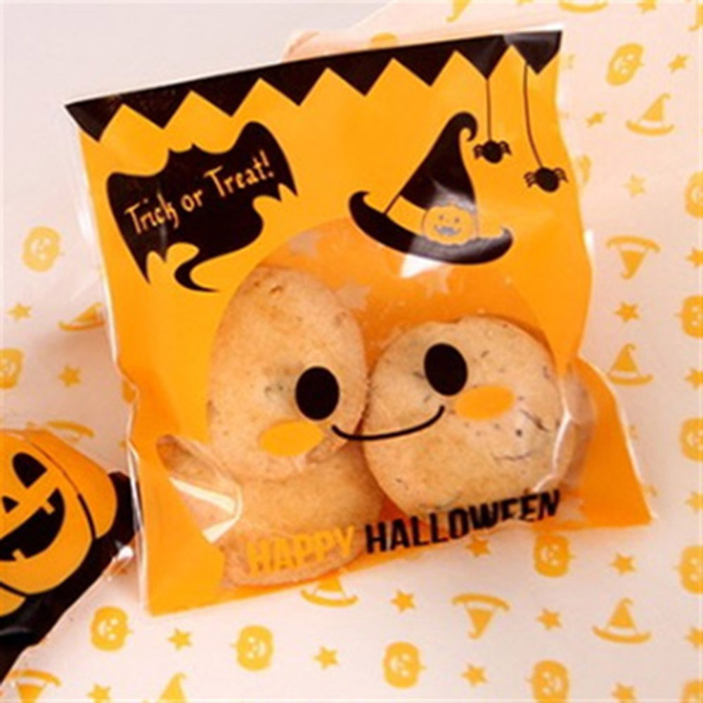 100 Pcs/pack Lovely Halloween Yellow Pumpkin Gifts Cookie Candy Bread Self-adhesive Plastic Packaging Pouch New Arrivcal image