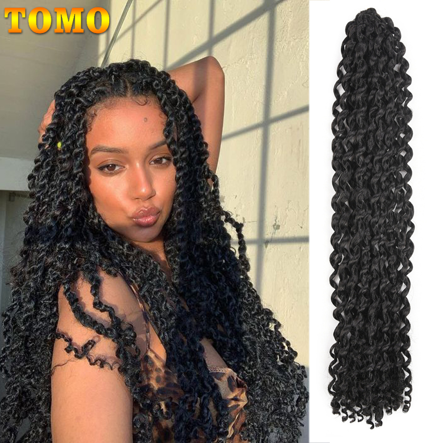 TOMO 18Inch Crochet Braid Passion Twist Synthetic Braiding Hair Extensions 22Strands 80g/Pack Crochet Hair Brown Black For Women