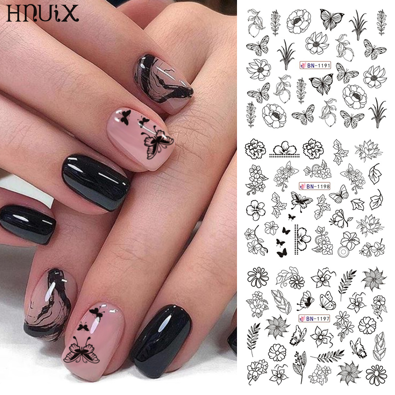 HNUIX 12 Designs <font><b>Nail</b></font> <font><b>Stickers</b></font> Set Mixed Floral Geometric <font><b>Sexy</b></font> Girl <font><b>Nail</b></font> Art Water Transfer Decals Tattoos Sliders Manicure image