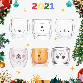 Creative Cute Bear Coffee Mug Double Glass Cup Carton INS Animal Milk Juice Lady Valentine's Day Anniversary Gift 1