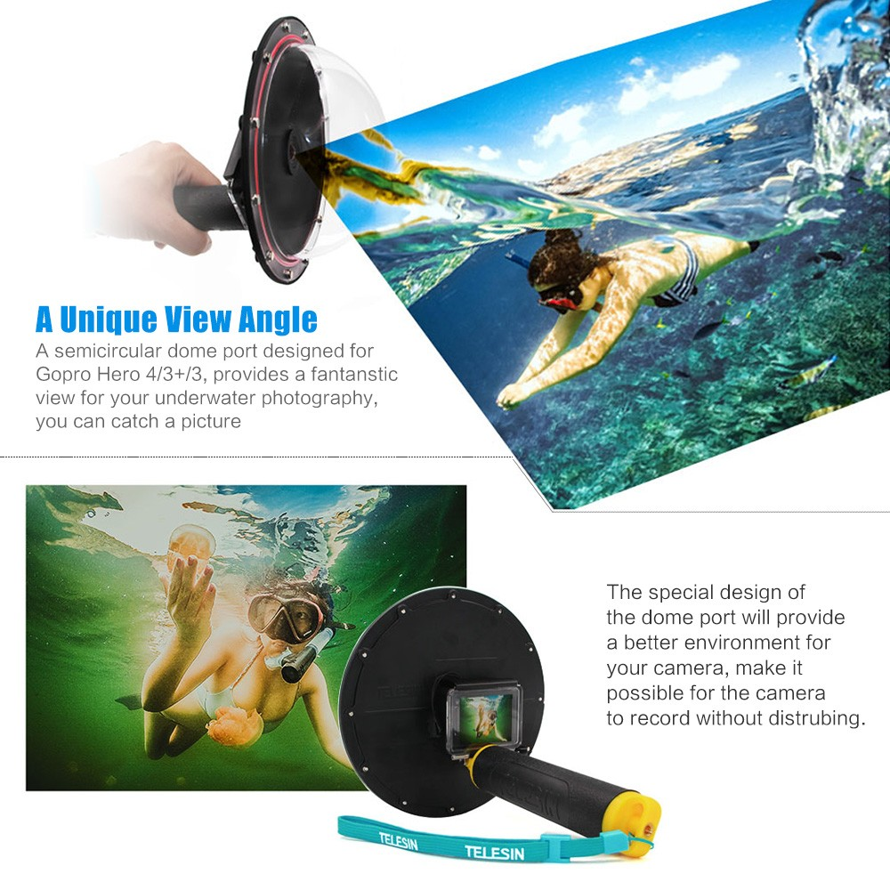 Go Pro Dome Port Cover Lens Hood For GoPro Hero 7/6/5/4/3 3+ Waterproof Case Housing Trigger Grip Dome Photography Accessories