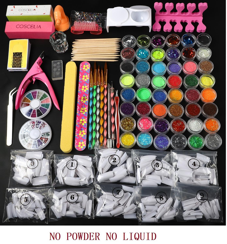 Pro Nail Acrylic Kit Powder Glitter Full Manicure Set For Nail Art Liquid Decoration Crystal Brush Tips Tools Kit For Manicure 11
