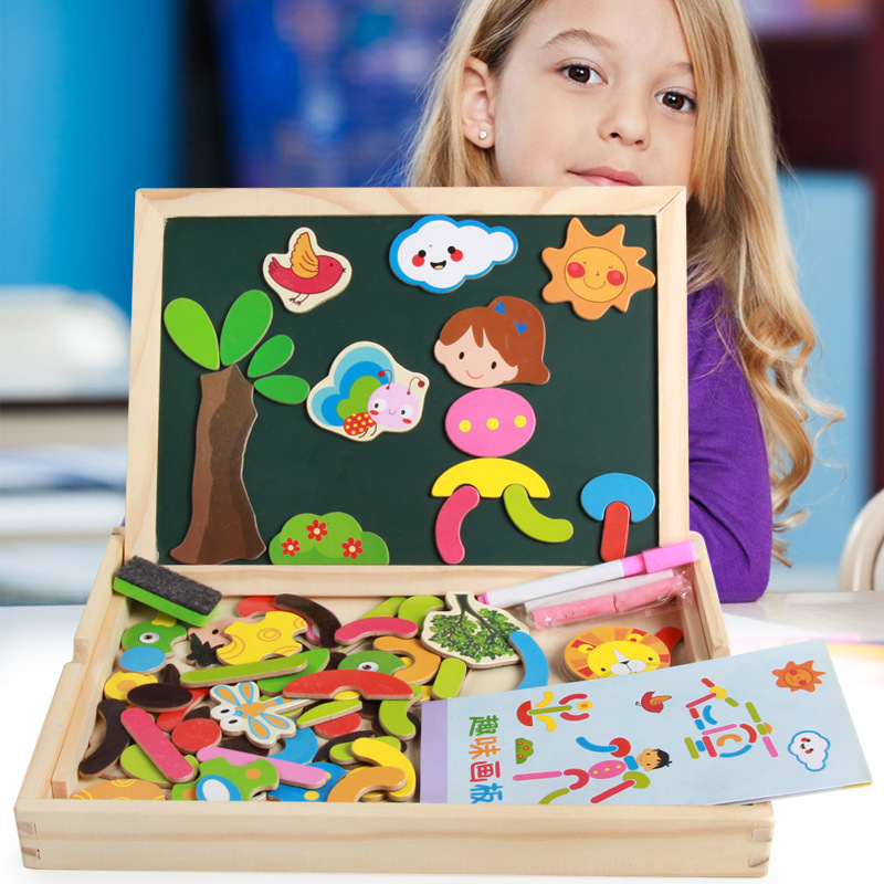 Children Special Education Early Childhood Toy Multi Purpose Jigsaw Puzzle Double-Sided Sketchpad Wooden Qizhi Joypin Fun Drawin