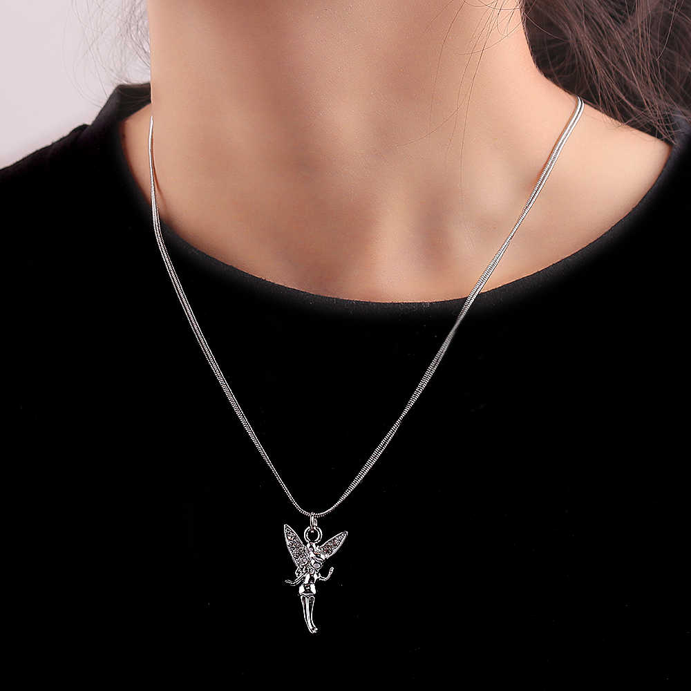 3pcs/set Multi Layered Necklace Pendants Butterfly Angel Cross Rose Charms Pendant Necklace for Women Hip Hop Jewelry Cute Girls