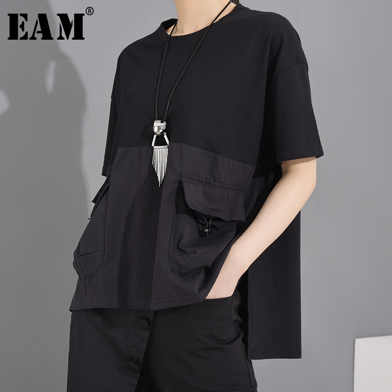[EAM] Women Black Pocket Irregular Split Big Size T-shirt New Round Neck Short Sleeve  Fashion Tide  Spring Summer 2020 1T70601 1
