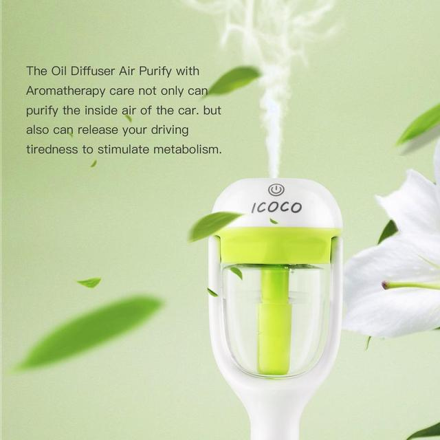 ICOCO Mini Portable Car Aromatherapy Charger Humidifier Aroma Essential Oil Diffuser Fresh Purification 180 Degree Rotation