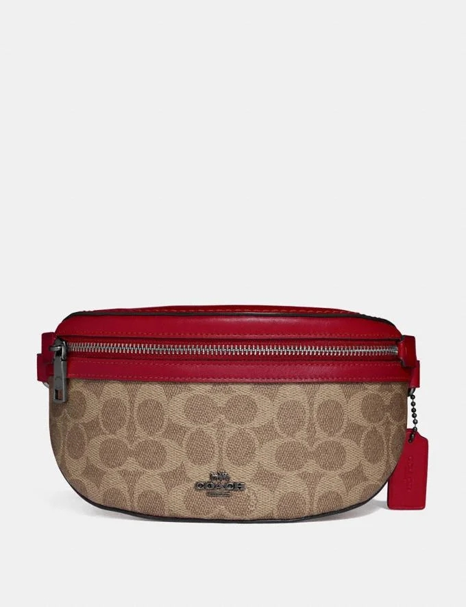 Coach Belt Bag In Signature Canvas Women Girls Waist Fanny Pack Belt Bag Pouch Hip Bum Bag Travel Sport Small Purse 39937