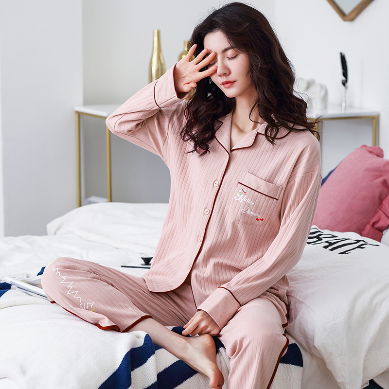 Women Soft 100% Cotton Pajamas Spring PJ Long Sleeves Button-Down Solid Pure Cotton Sleepwear Set 2pieces Ladies Pyjama Femme