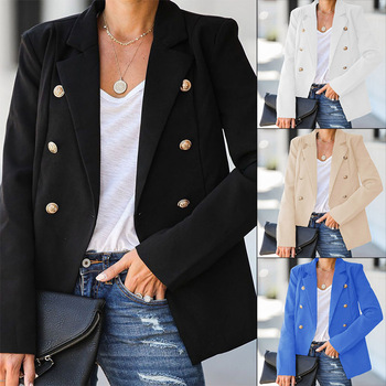 Women Jacket Double Breasted Jacket 2020 Autumn Casual Long Sleeve Slim Fit Jacketes Solid Color Plus Size Coat Woman