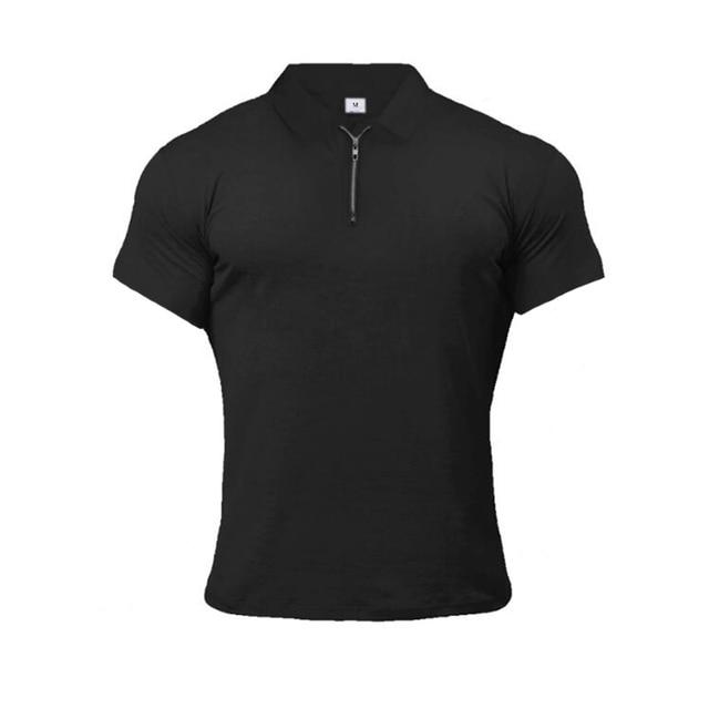 Muscleguys-Polo de moda para hombre, camisa informal de manga corta de Color liso, ajustada, de alta calidad, para Fitness 6