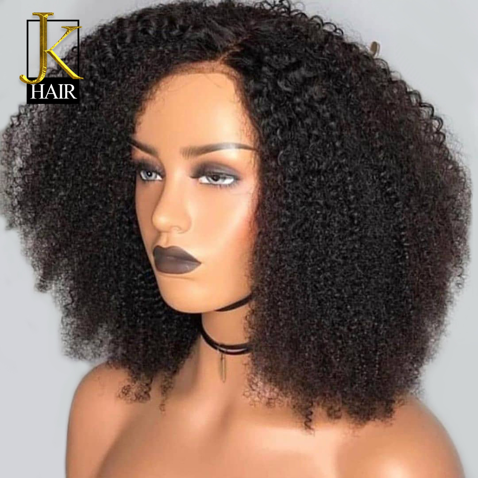 250% Density Kinky Curly Lace Front Human Hair Wigs For Women Black Remy Brazilian 13x4 Short Lace Wig Middle Part JK ELegant