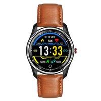 Pulseira de couro esportes relógio inteligente à prova dsmart água pulseira inteligente esportes contagem passo toque relógio tela colorida relógio inteligente|  -