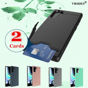 Brushed Hybrid Wallet Card Holder Kickstand Cover For Samsung Galaxy Note 10 Plus 5G S20 S10 S9 S8 Plus S20 Ultra Capa Funda(China)