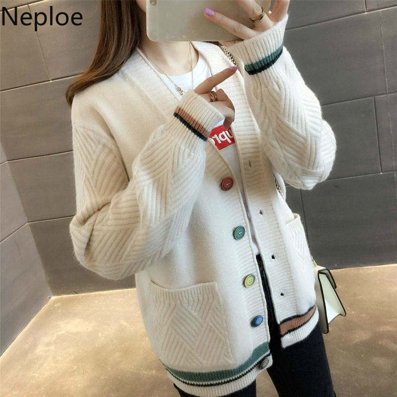Neploe Knitted Sweaters Cardigans Coat Patchwork Loose Female Korean Autumn Plus-Size