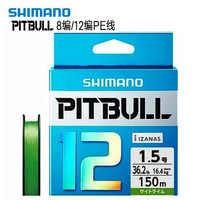 SHIMANO 100% Original PITBULL X4 X8 X12 trenzado PE línea de pesca 150M 200M verde 0,6 #0,8 #1,0 #1,2 #1,5 #2,0 # hecho en Japón