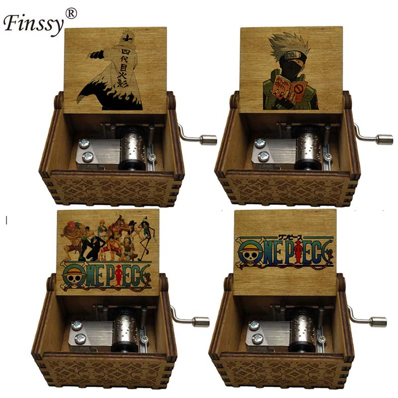 Newest Design Anime One Piece Naruto Print Music Theme Castle In The Sky Music Box Hand Cranked Wooden Festival Souvenir Gift