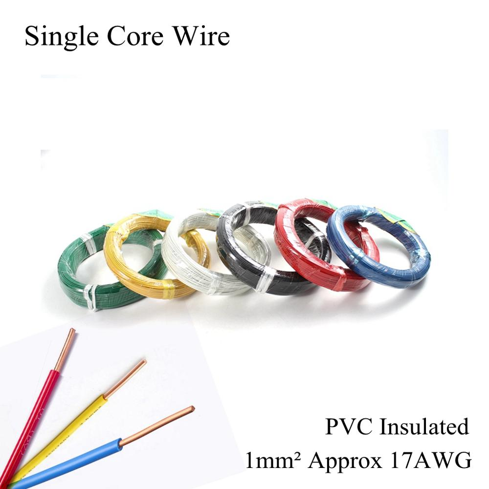 17AWG <font><b>1mm</b></font>² BV Single Core <font><b>Cable</b></font> Electrical Wire Single Strand Hard Line PVC Insulated Electric Pure Copper Wires <font><b>1mm</b></font> Square image
