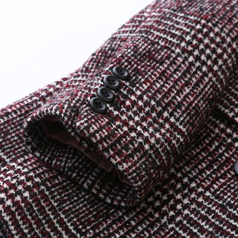 Frauen Plaid Blazer Britischen stil herbst lose plaid jacke verdickung kaschmir temperament retro woolen kleine anzug weibliche - 4