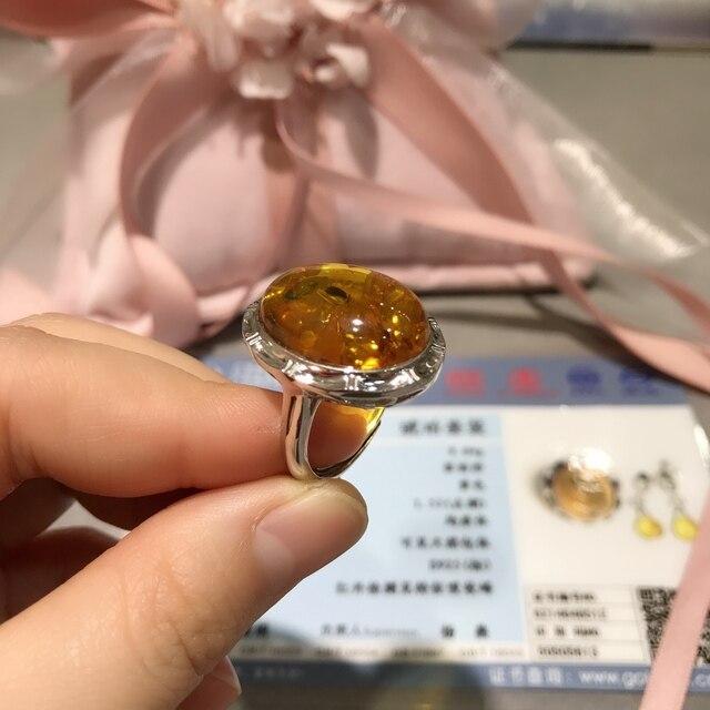 Kkmall Store S925 srebrny bursztynowy pierścionek wysokiej klasy atmosfera prezent dla mamy regulowany pierścień