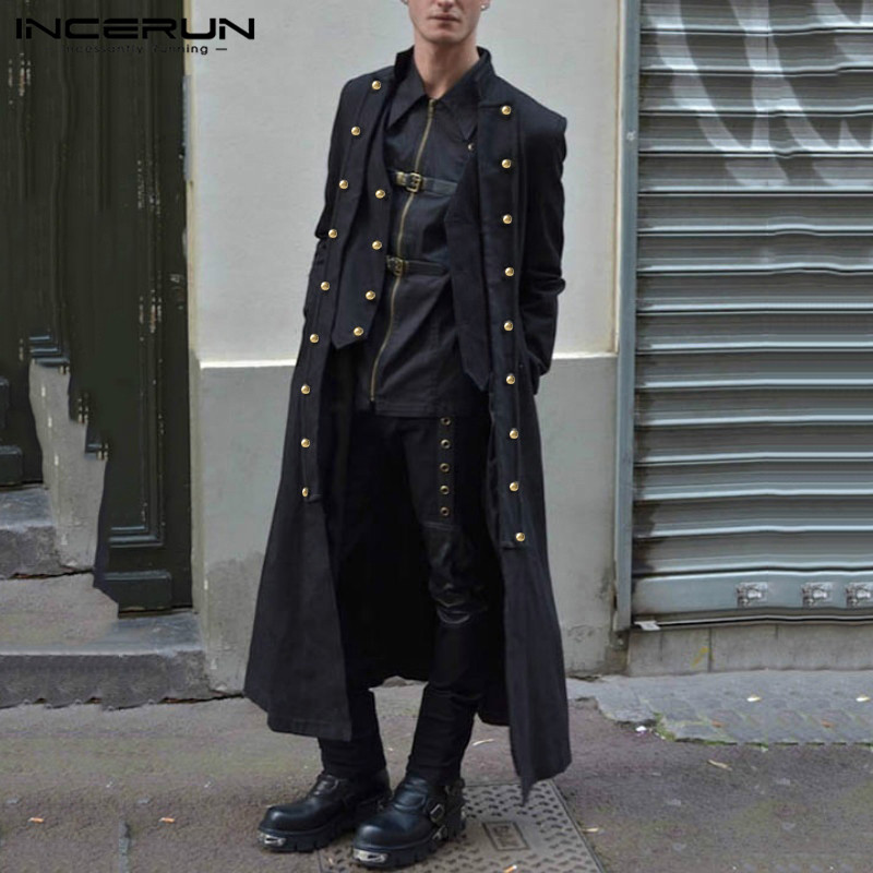INCERUN Gothic Men Coats Punk Style Long Sleeve Solid Three Breasted Retro Trench Men Longline Outerwear Overcoats Men Winter 7