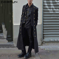 INCERUN Gothic Men Coats Steampunk Long Sleeve Solid Three Breasted Vintage Trench Men Longline Outerwear Medieval Costumes 7