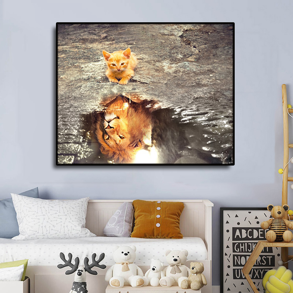 Laeacco Cat and Lion Water Pit Decoration Canvas Oil Painting Pictures For Bedroom Living Room Home Decor Artwork Wall No Frame in Painting Calligraphy from Home Garden