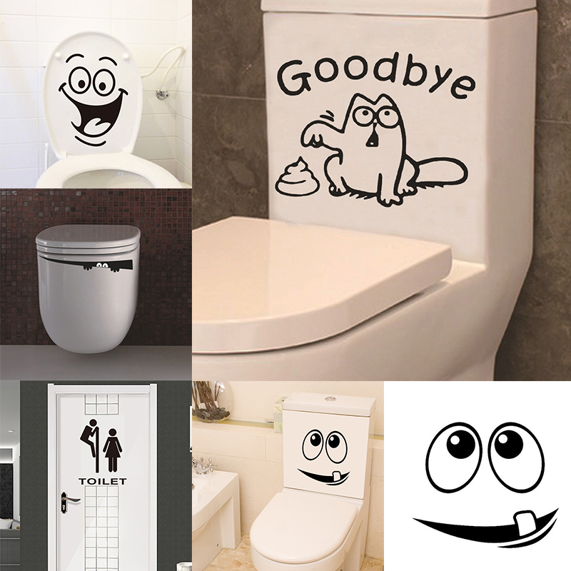 3D Creative Wall Sticker Waterproof Toilet Stickers Bathroom Living Room Art