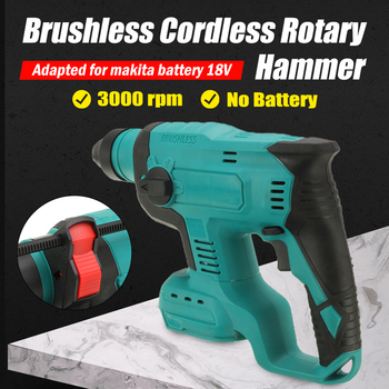 18V Brushless Cordless Rotary Hammer Drill Rechargeable Electric Hammer Impact Drill Without Battery For Makita Battery 3 in 1 13mm brushless electric hammer drill electric screwdriver 20 3 torque cordless impact drill for makita 18v battery