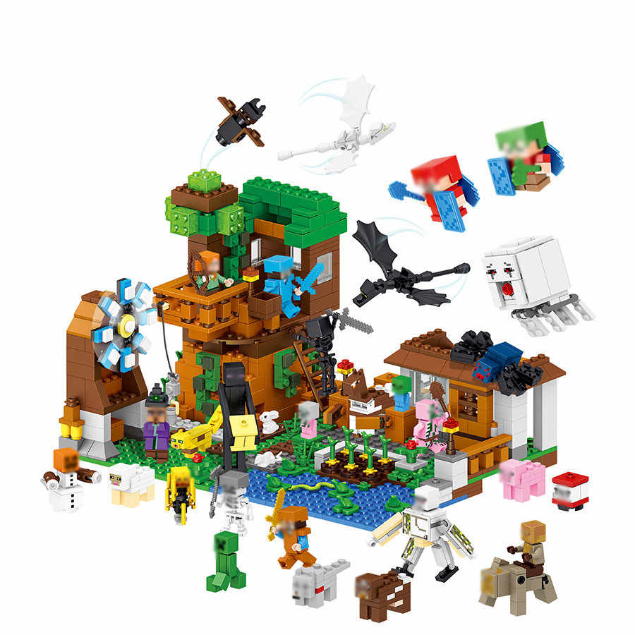 New 1007pcs My World Water Castle Mini Dragons Action Figures Legoed Model Building Blocks Minecrafted City Children Toys