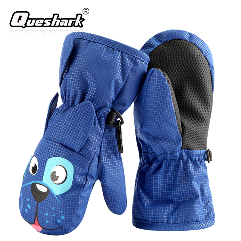 Waterproof Cartoon Skiing Gloves Kids Cute Snow Mittens Boys Girls Babies Winter Riding Ski Snowboard Gloves 1-8 Years Old