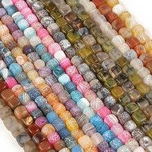 Atacado 16 cores de pedra natural quadrado dragão veias ágata contas soltas contas 8mm 50 pçs needlework diy colar pulseira