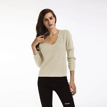Bottoming sweater female 2019 new loose casual wild deep V raglan sleeve long sleeve crater side knit sweater autumn raglan sleeve side slit lace up sweater