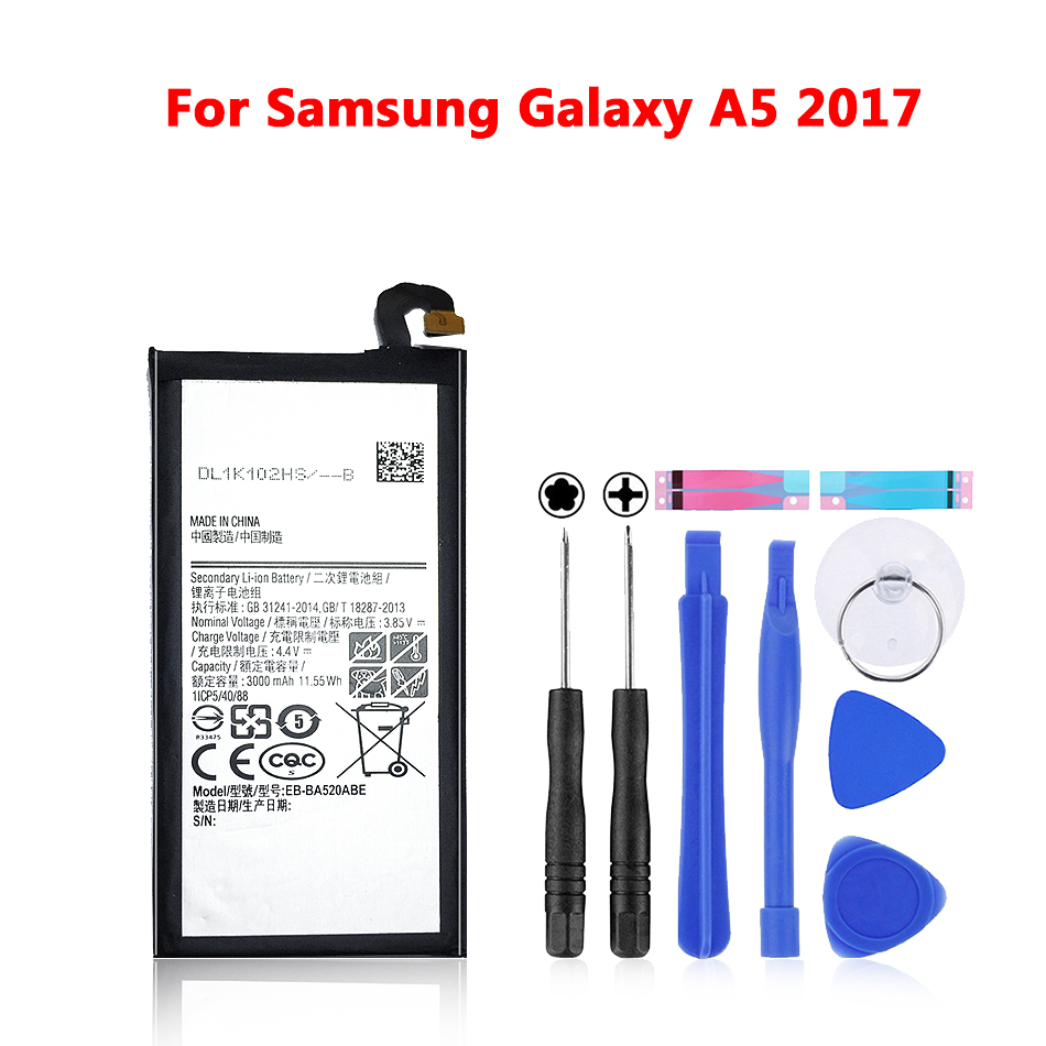 Original Replacement <font><b>Battery</b></font> For Samsung Galaxy 2017 Edition <font><b>A5</b></font> 2017 A520F SM-A520F Genuine Phone <font><b>Battery</b></font> EB-BA520ABE 3000mAh image