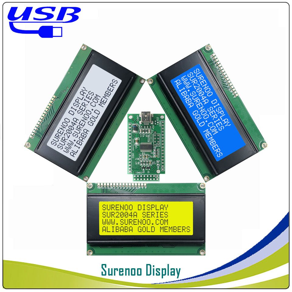 LCD2USB USB 204 20X4 2004 Character LCD Module Display Screen Panel Sutible LCD Smartie & AIDA64 For DIY PC