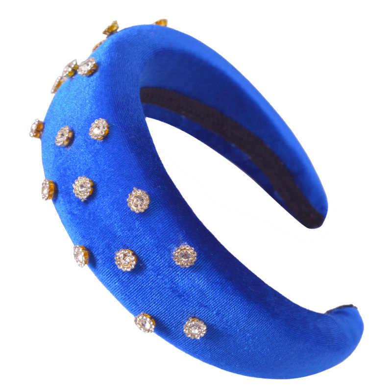 Vente femmes complet coloré strass bandeau couronne à la main bandes de cheveux cristal velours large cerceau bandeau de mariage cheveux bijoux