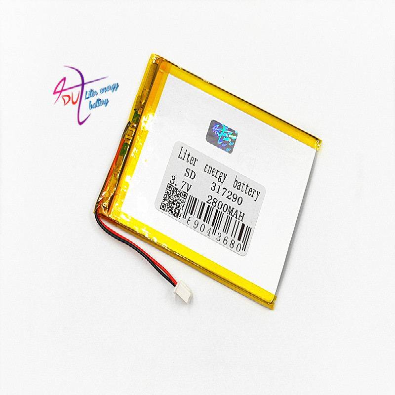 XHR-2P 2.54 317290 3.7V 2800MAH 307090 Lithium Polymer LiPo Rechargeable Battery For Mp3 headphone PAD DVD bluetooth camera