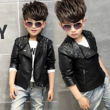 boys coat childrens pu jacket fashion kid outwear solid color long sleeve Casual motorcycle jacket  spring autumn rivet cool