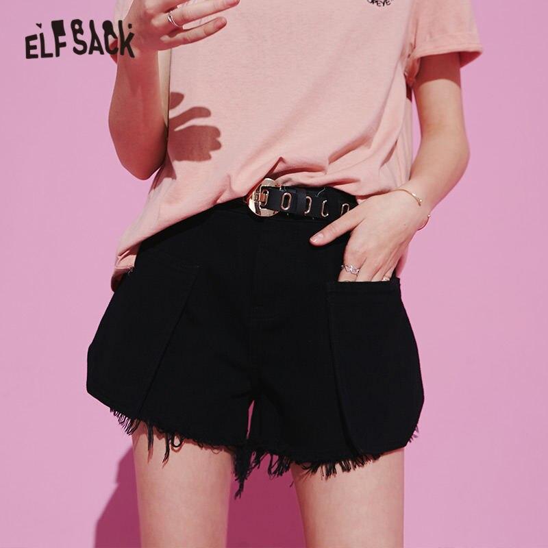 Elfsack черные однотонные Высокая Талия Finge Повседневное прямые Для женщин шорты 2020 летние бело серые белые настоящая Корейская стильная женская обувь на каждый день брюки|Шорты|   | АлиЭкспресс - одежда