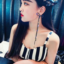 FYUAN Black Long Tassel Drop Earring for Women Bijoux Oversize Bowknot Rhinestone Dangle Earrings Statement Earrings Jewelry цена