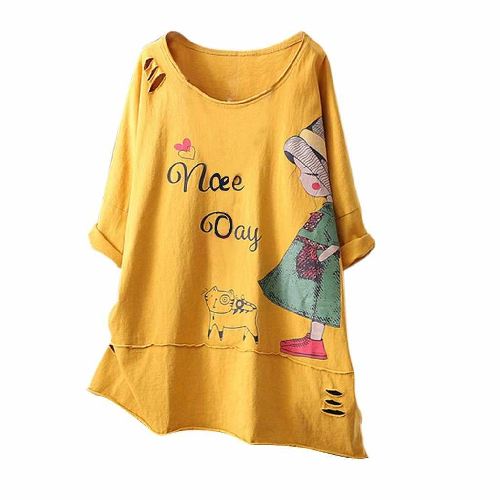Nuova Maglietta di Modo Delle Donne O-Collo Manica Corta Stampa Del Fumetto Del Cotone di Lino Magliette e camicette Poleras Camiseta Mujer Top Delle Donne Harajuku Maglietta