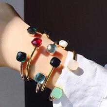 22 цвета, Кристальный карамельный стиль, браслет, золотой цвет, Микс, свободно подобранные цвета, настраиваемый размер, открытые браслеты для женщин, подарок(DJ1387
