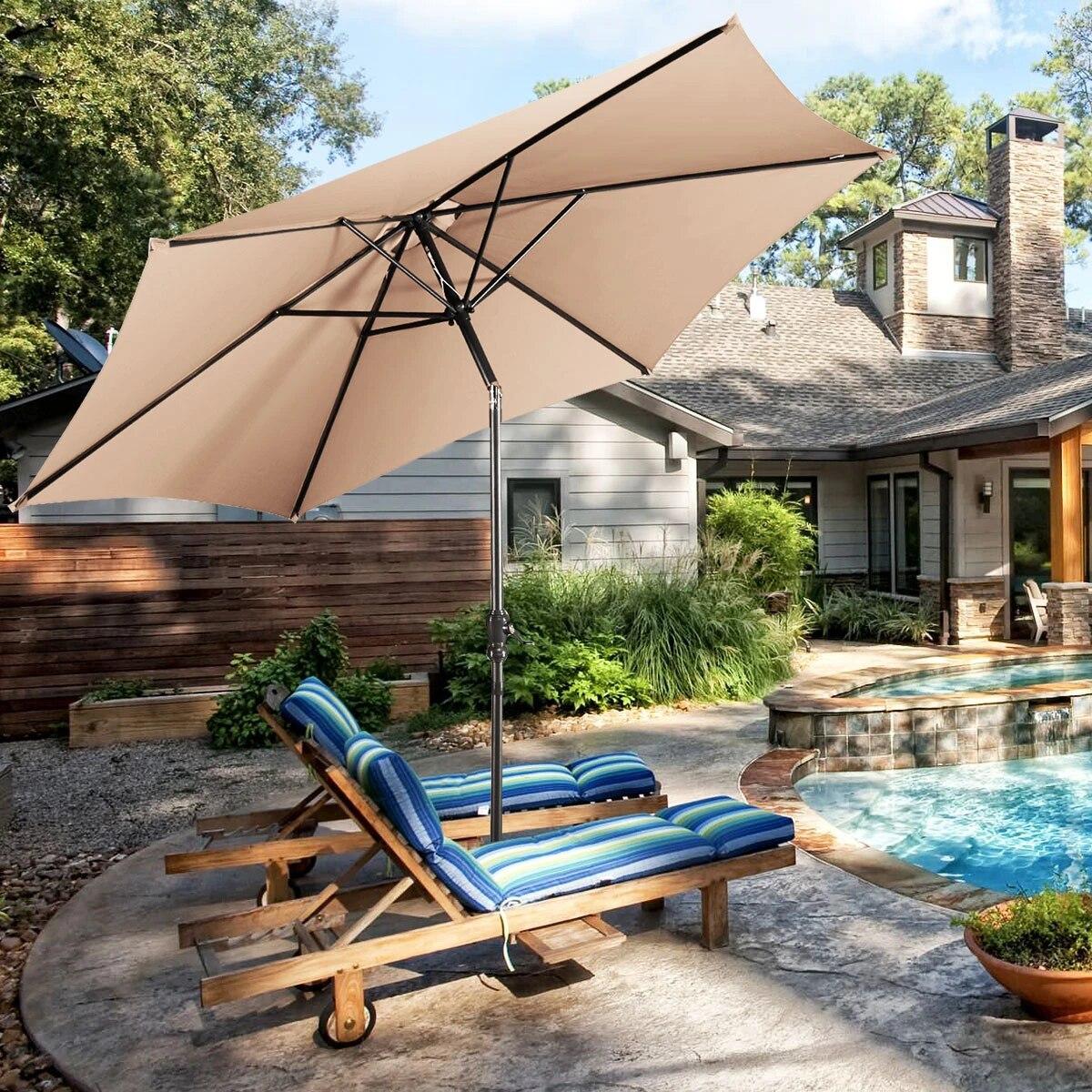 costway 10ft patio umbrella 6 ribs market steel tilt w crank outdoor garden beige