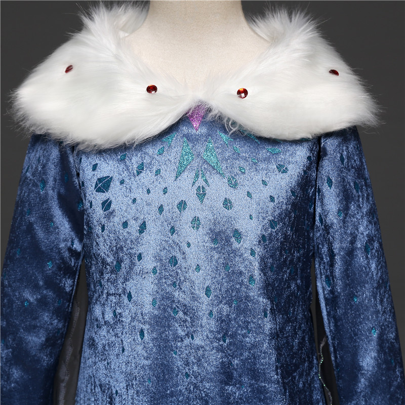 Dresses For Girls Princess Queen Cosplay Kids Costume Snowflake Henderson Party Dress Vestidos Children Girls Clothing 5