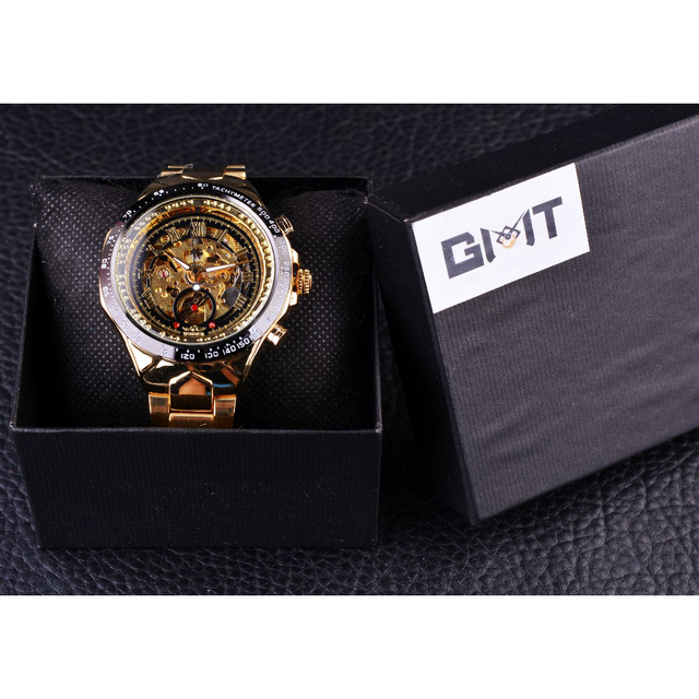 Winner Mechanical Sport Design Bezel Golden Watch Mens Watches Top Brand Luxury Montre Homme Clock Men Automatic Skeleton Watch 6
