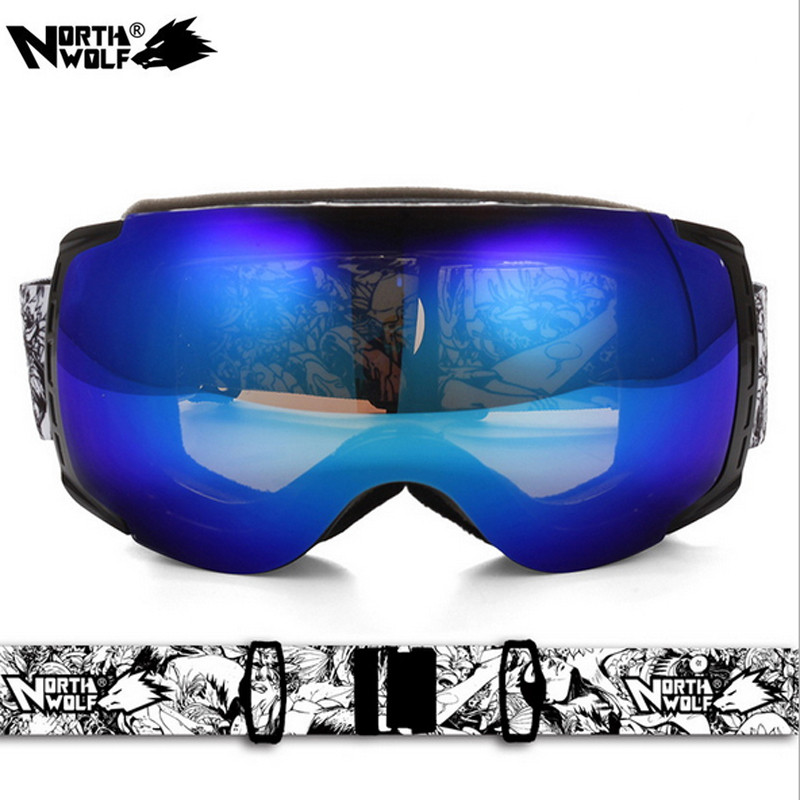 NORTH WOLF Unisex Professional Ski Goggles Anti-fog Double Skiing Glasses UV400 Snow Sports Ski Eyewear Snowboard Goggles