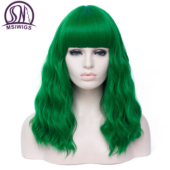 цена на MSIWIGS Bobo Long Curly Cosplay Wigs Women Green Wig with Bangs Synthetic Pink Purple Hair Wigs